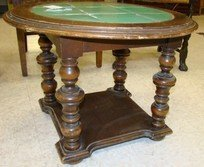ROUND WOODEN AND GREEN TILE END TABLE - 2
