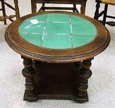 ROUND WOODEN AND GREEN TILE END TABLE - 3