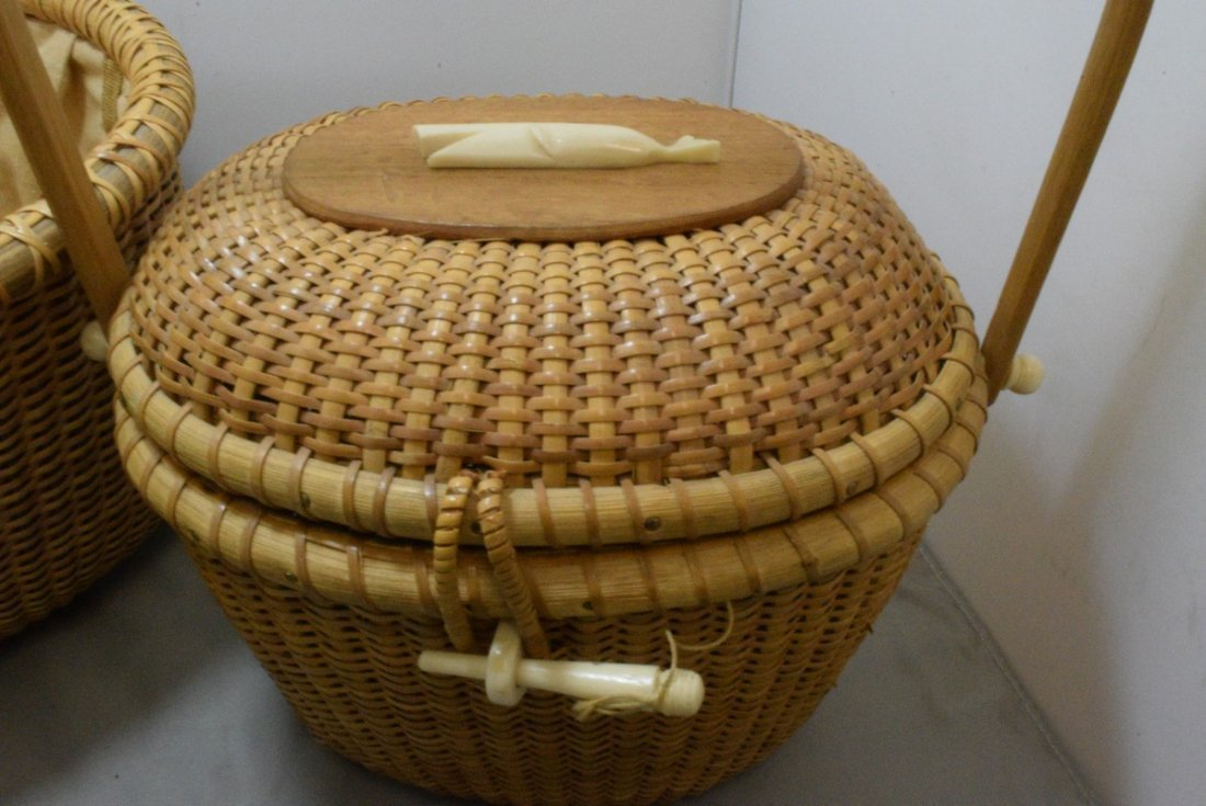 2 HAND WOVEN BASKETS WITH CARVED BONE LIKE TRIM - 2
