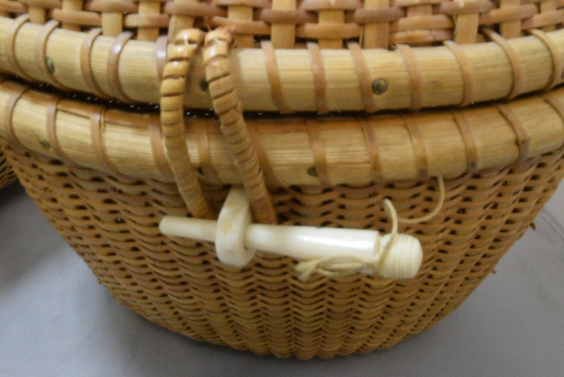 2 HAND WOVEN BASKETS WITH CARVED BONE LIKE TRIM - 4