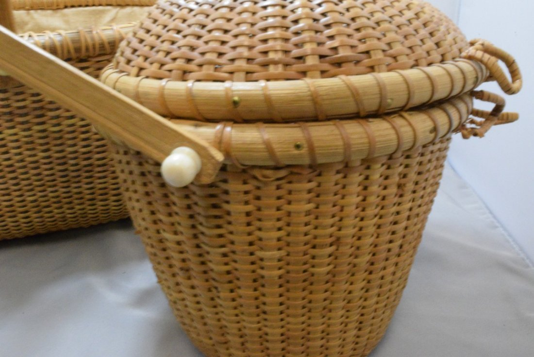 2 HAND WOVEN BASKETS WITH CARVED BONE LIKE TRIM - 5