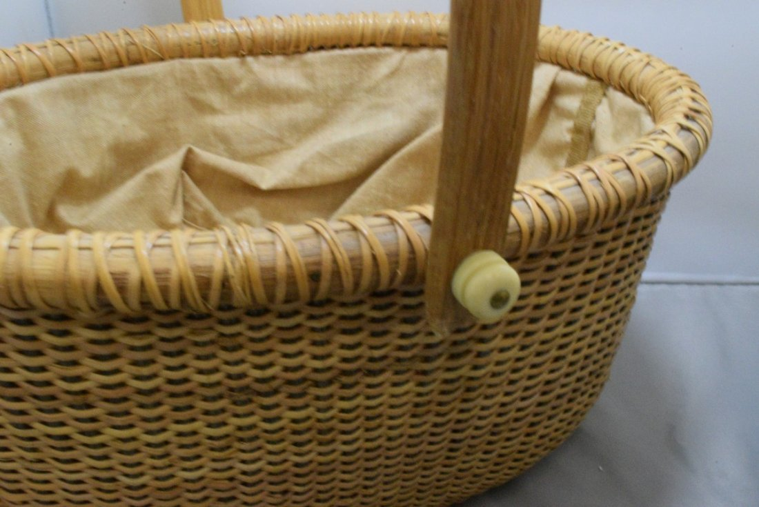 2 HAND WOVEN BASKETS WITH CARVED BONE LIKE TRIM - 6