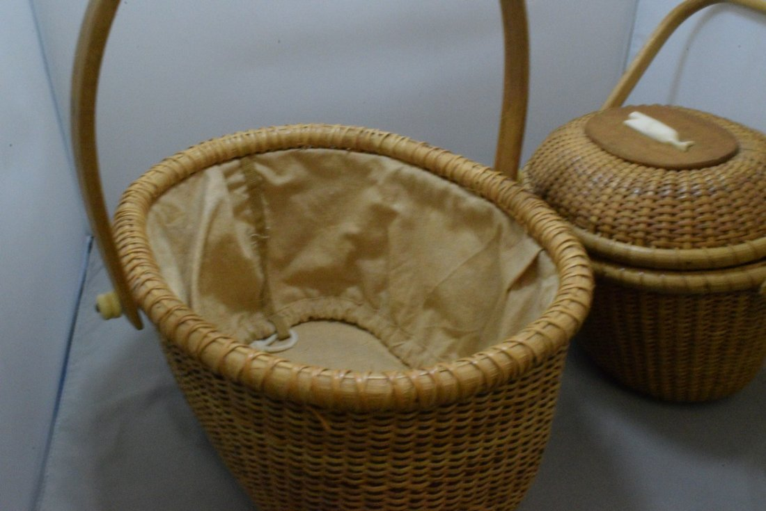 2 HAND WOVEN BASKETS WITH CARVED BONE LIKE TRIM - 7