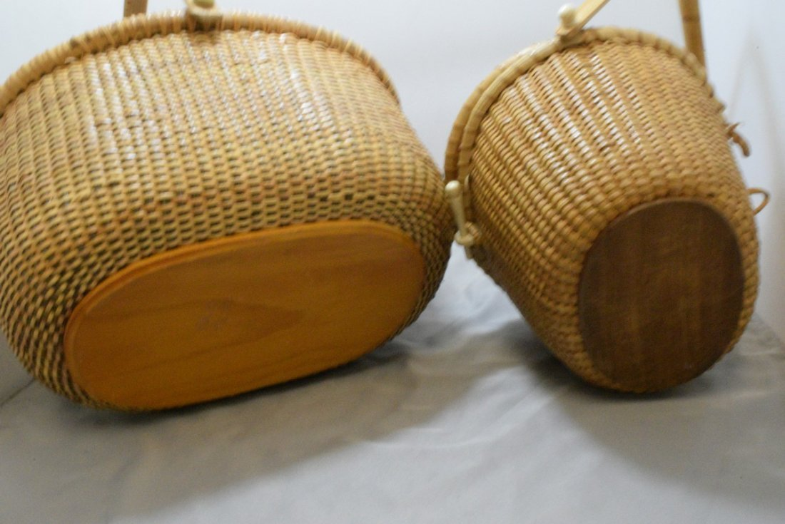 2 HAND WOVEN BASKETS WITH CARVED BONE LIKE TRIM - 8