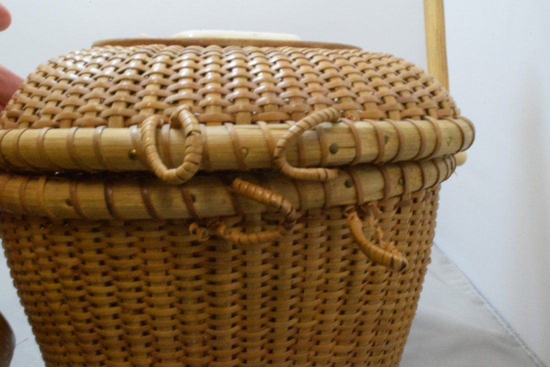 2 HAND WOVEN BASKETS WITH CARVED BONE LIKE TRIM - 9