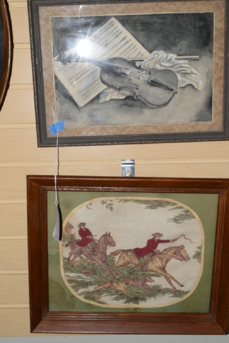 FRAMED HUNTING TAPESTRY AND A FRAMED ORIGINAL PENCIL