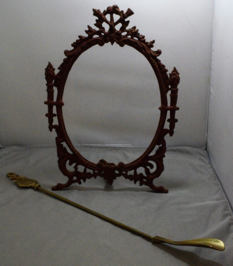 """VINTAGE 14.5"""" CAST IRON PICTURE FRAME AND A VINTAGE"""