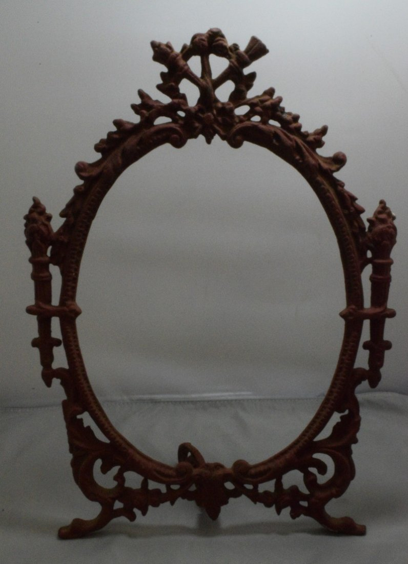 """VINTAGE 14.5"""" CAST IRON PICTURE FRAME AND A VINTAGE - 2"""