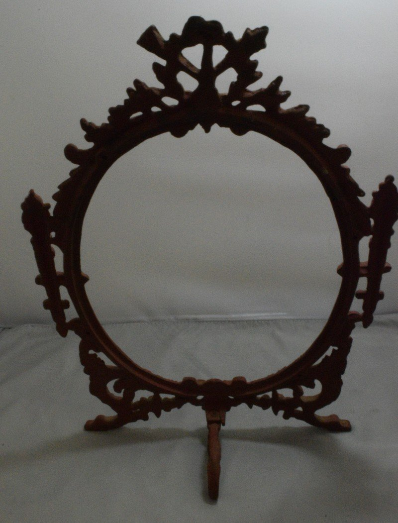 """VINTAGE 14.5"""" CAST IRON PICTURE FRAME AND A VINTAGE - 3"""