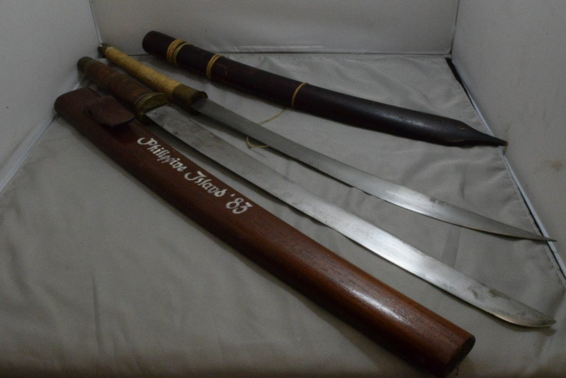 2 DECORATIVE SWORDS FROM THE PHILIPPINES - WOOD SH