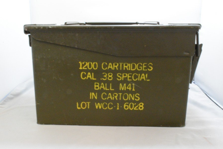 MILITARY AMMO BOX - 1200 CARTRIDGES CAL .38 SPECIAL