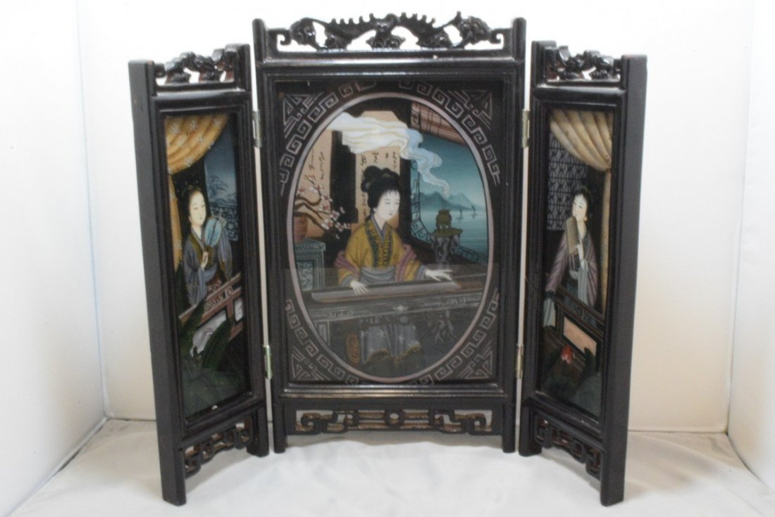 ;SMALL CARVED TRI-FOLDED FRAME WITH REVERSE PAINTING