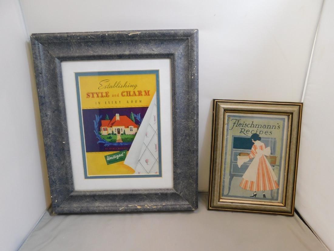 FRAMED VINTAGE RECIPE/ADVERTISING BOOKLETS
