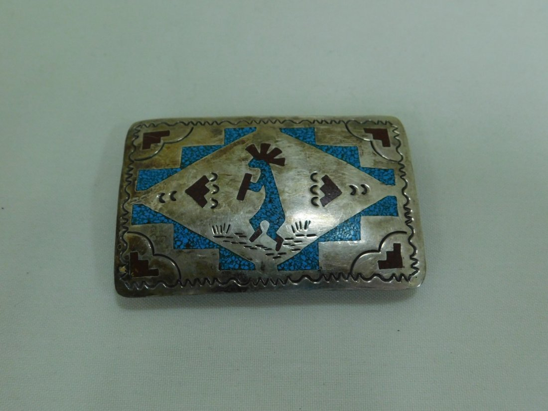 STERLING  TURQUOISE & CORAL BELT BUCKLE