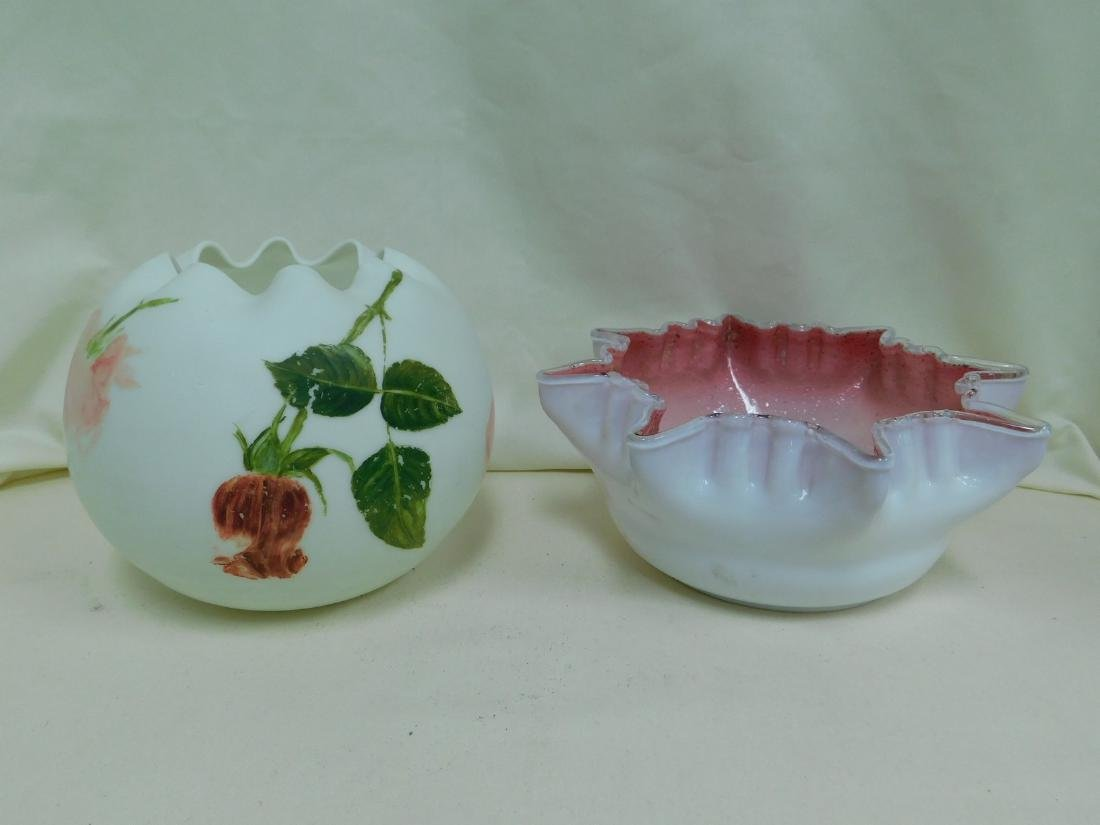 VINTAGE ROSE BOWL & RUFFLED GLASS BOWL
