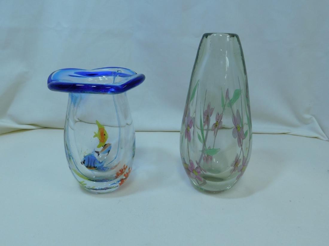 2 HANDBLOWN GLASS VASES