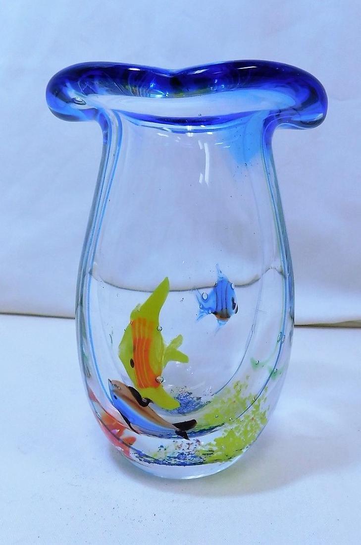 2 HANDBLOWN GLASS VASES - 2