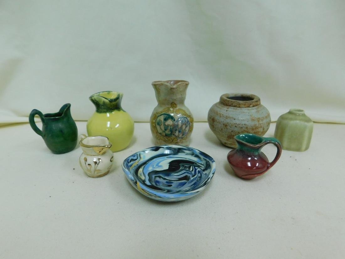 8 SMALL HANDMADE POTTERY PIECES -SIGNED