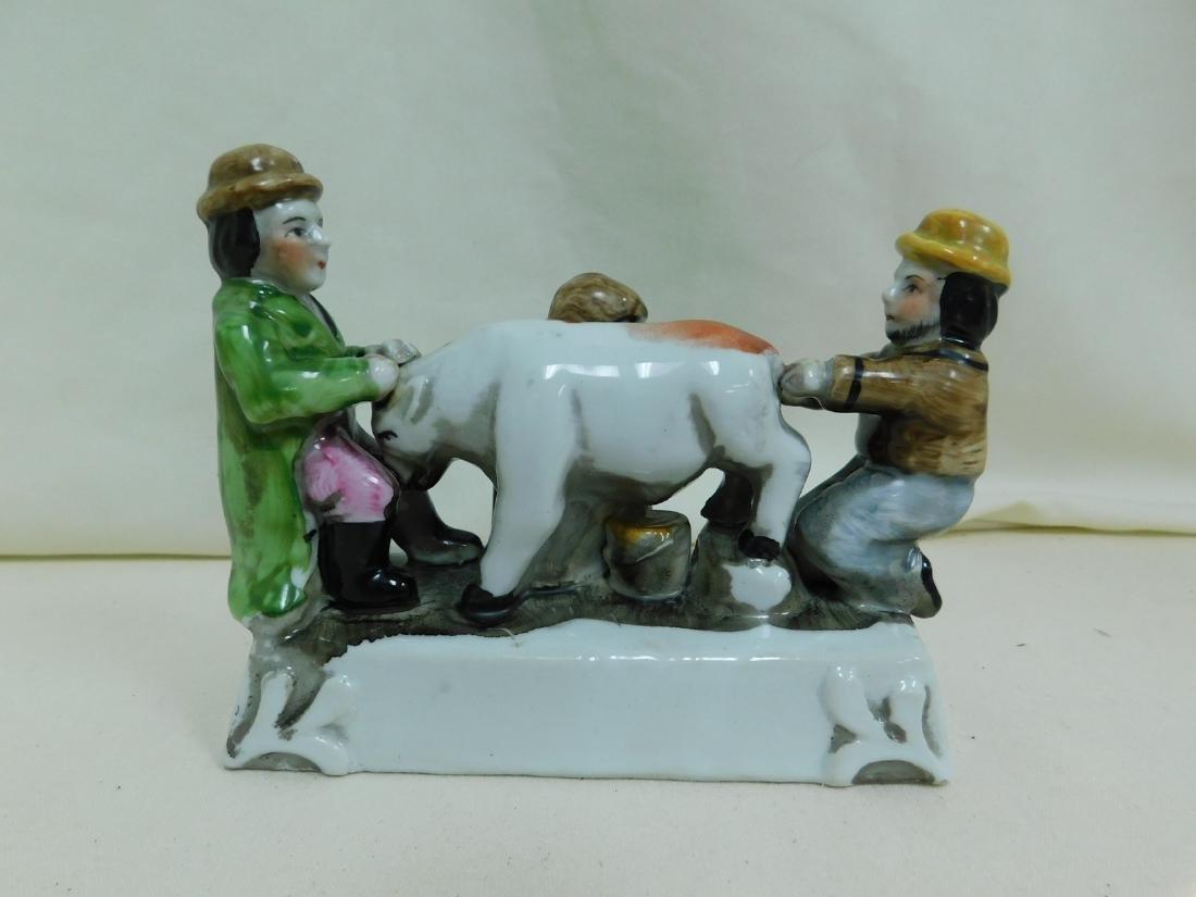 VINTAGE 3 MEN MILKING A COW PORCELAIN FIGURINE - 2