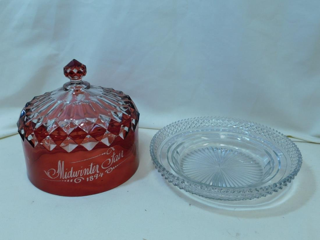 ANTIQUE EAPG PATTERN RUBY STAIN GLASS - 7