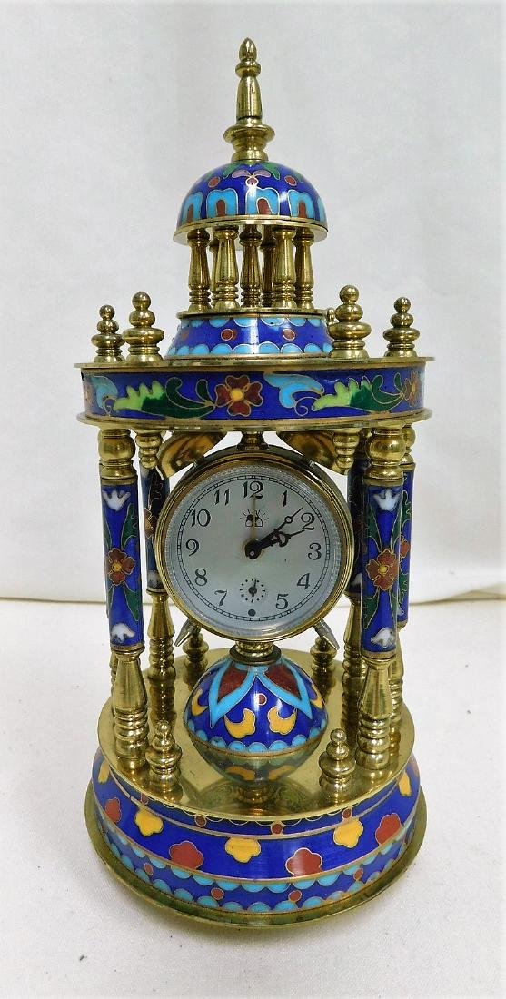 ORNATE CLOISONNE MANTEL CLOCK