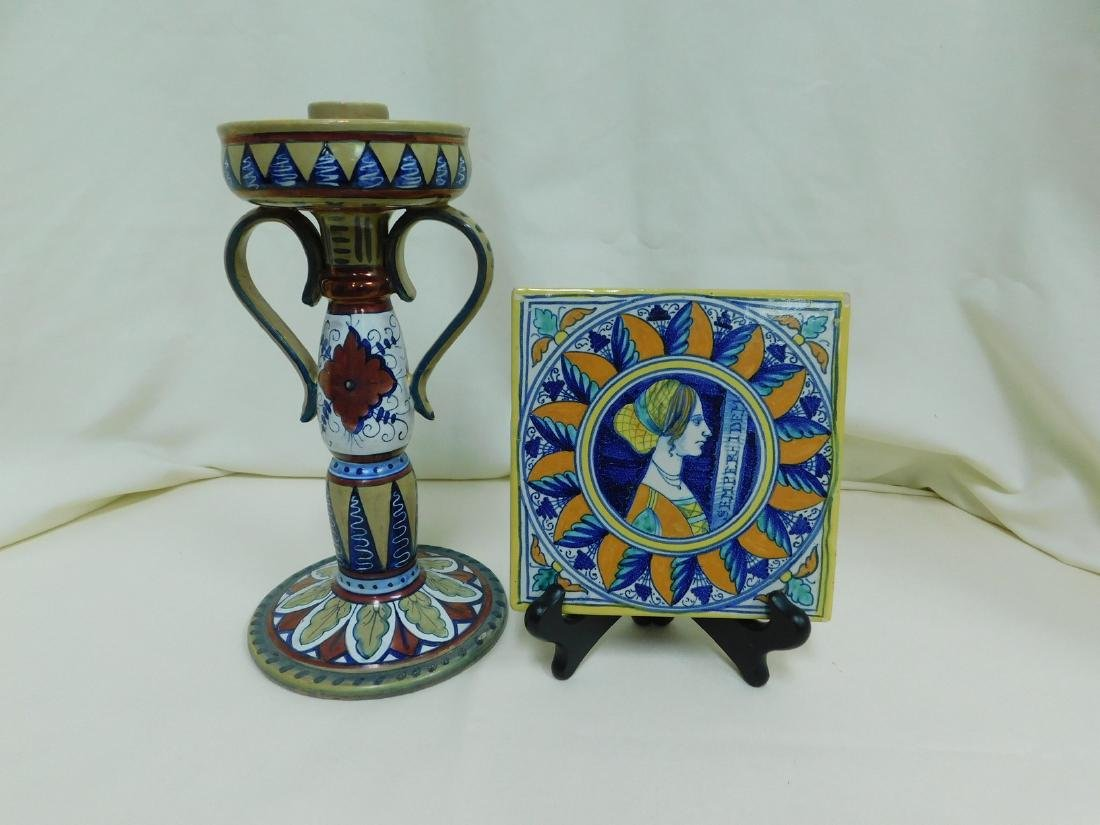 ITALIAN POTTERY TILE & CANDLE HOLDER