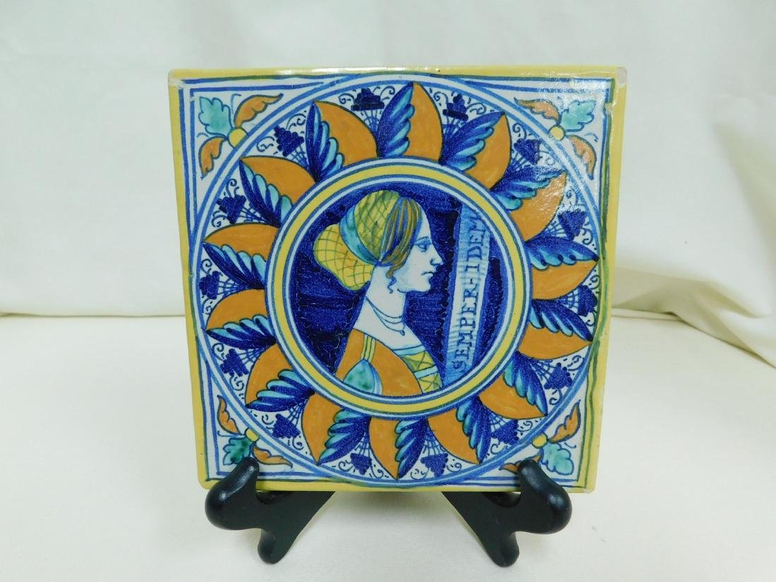 ITALIAN POTTERY TILE & CANDLE HOLDER - 2