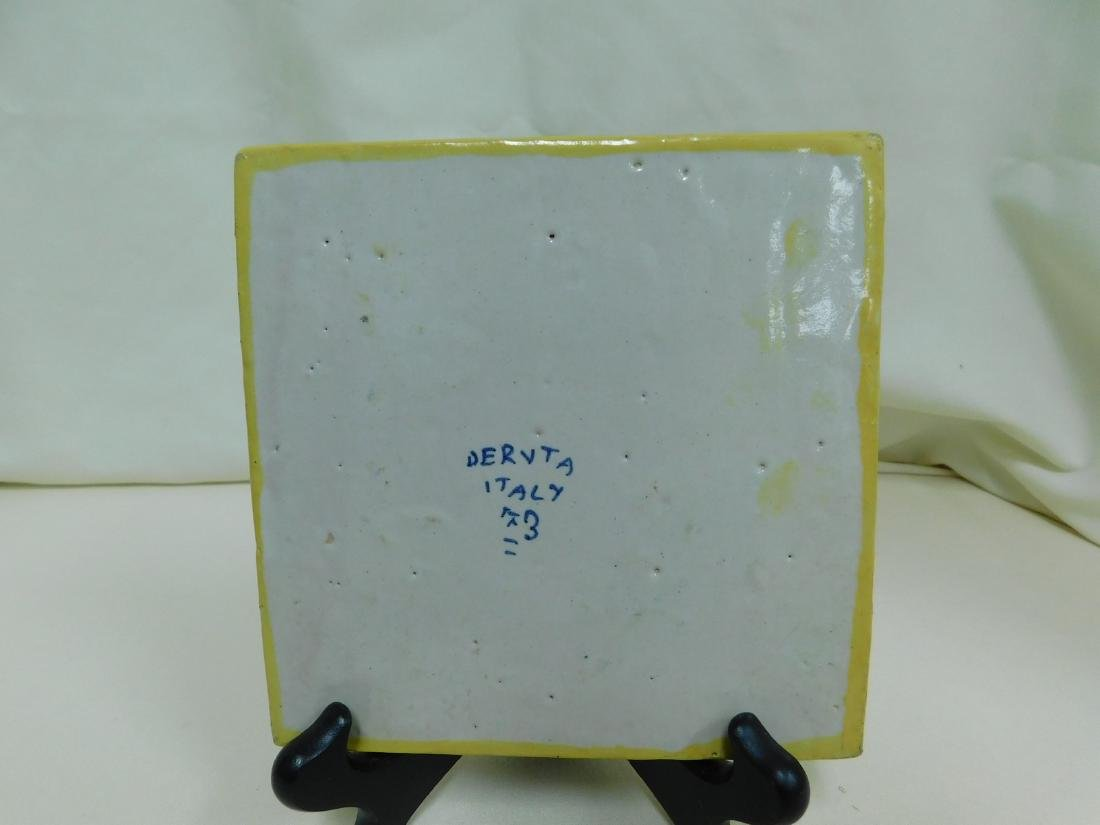 ITALIAN POTTERY TILE & CANDLE HOLDER - 3