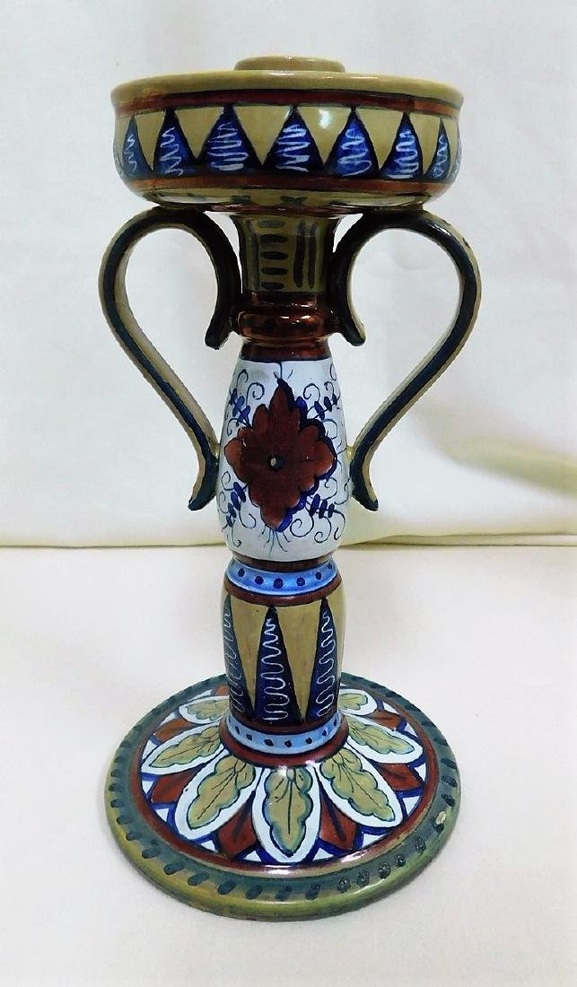 ITALIAN POTTERY TILE & CANDLE HOLDER - 4