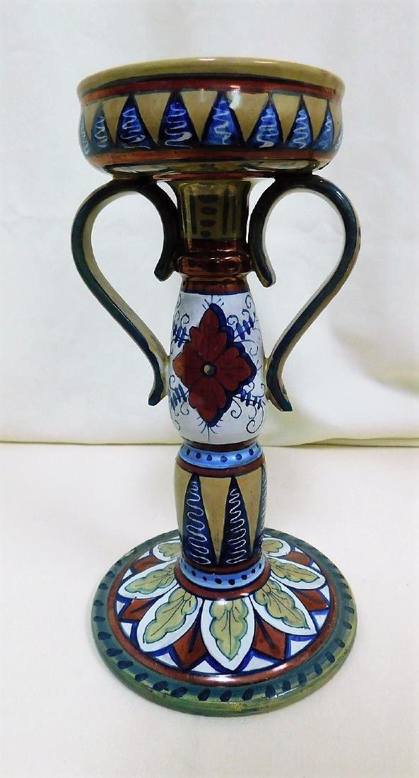 ITALIAN POTTERY TILE & CANDLE HOLDER - 5