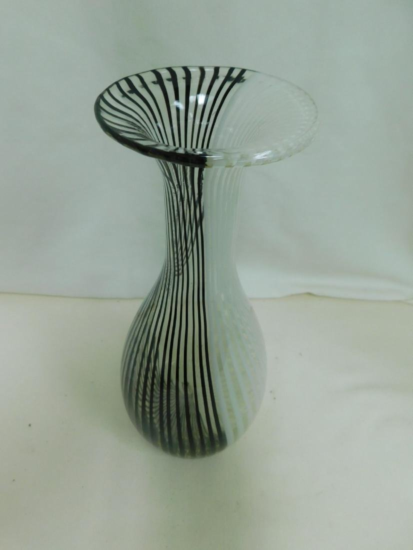 MURANO BLACK & WHITE STRIPED VASE - 2