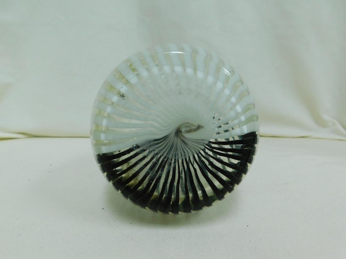 MURANO BLACK & WHITE STRIPED VASE - 3