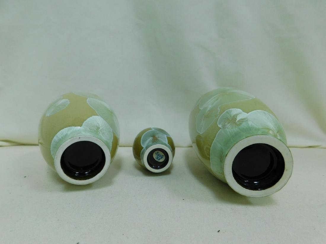 3 NARROW NECK MONOCHROME GLAZED VASES - 5