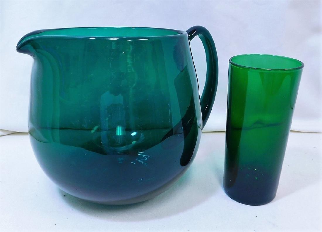 EMERALD GREEN GLASS PITCHER & TUMBLER