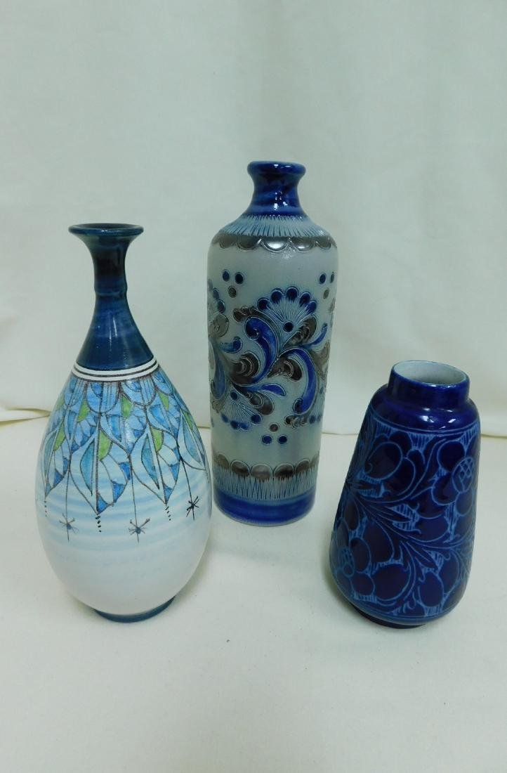 3 BLUE POTTERY VASES - SIGNED