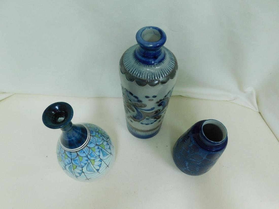 3 BLUE POTTERY VASES - SIGNED - 7