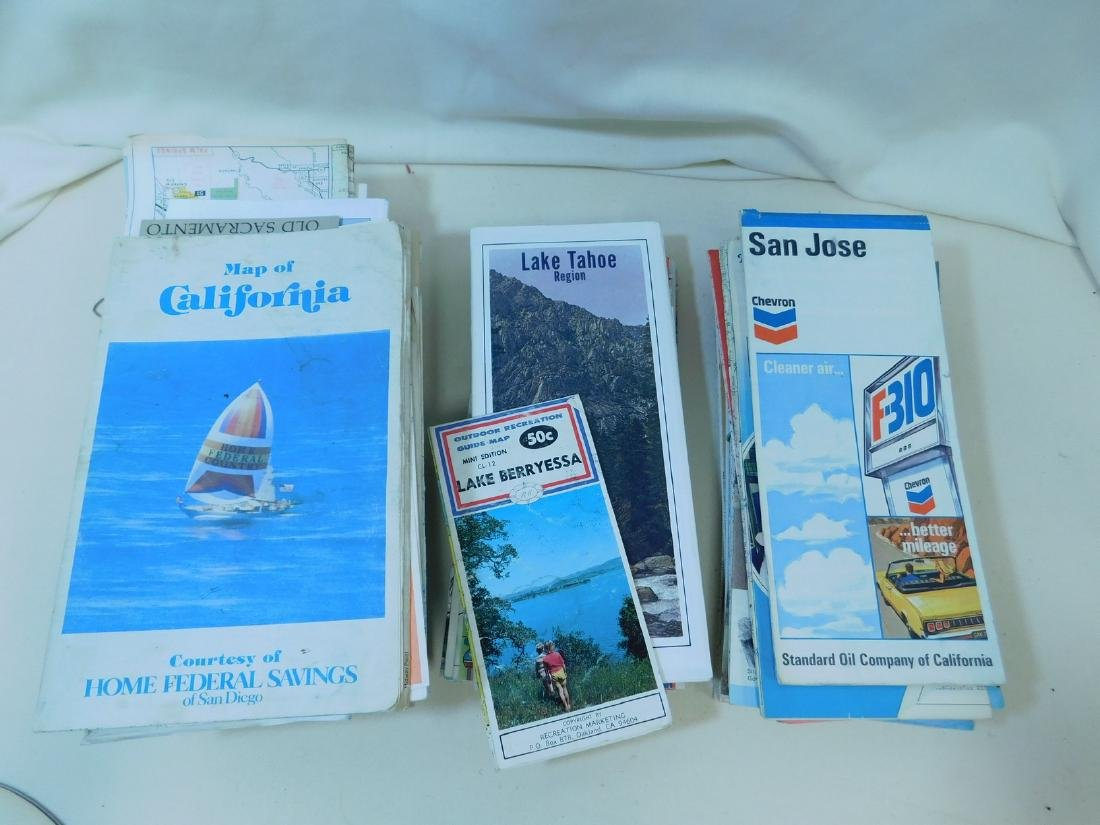 BOX OF VINTAGE ROAD MAPS - 6