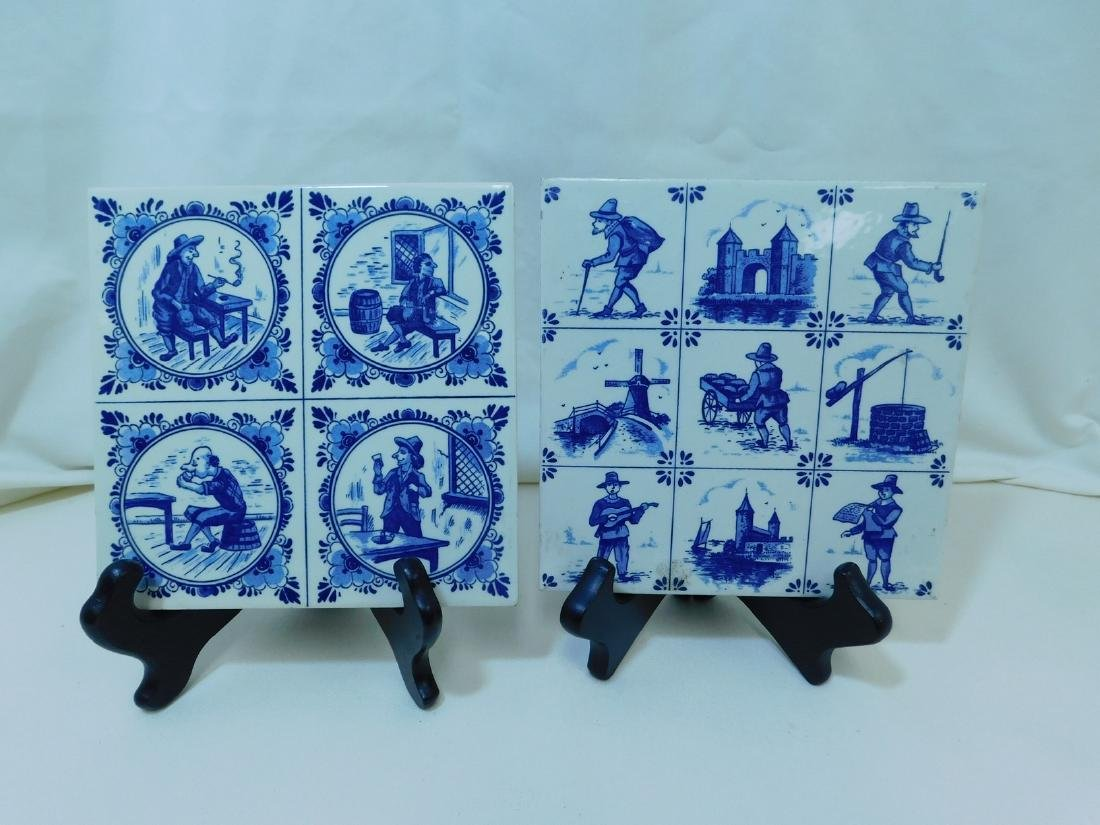VARIOUS POTTERY TILES/TRIVETS - 6