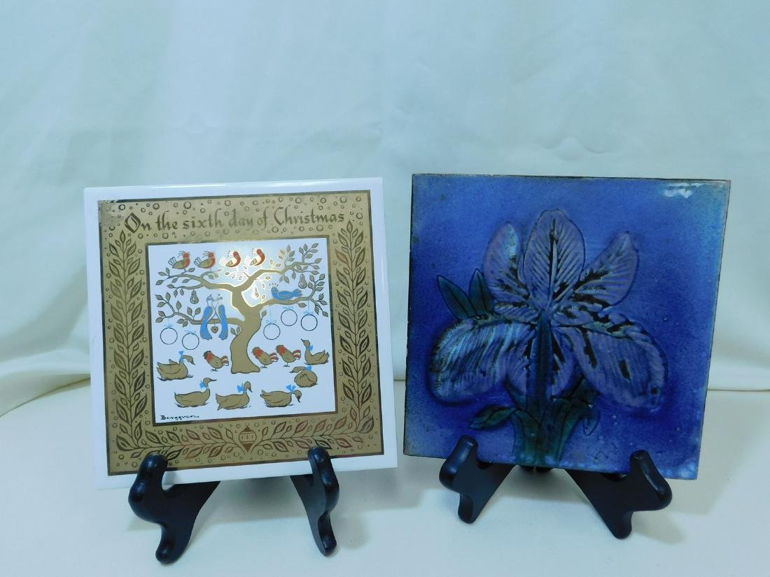 VARIOUS POTTERY TILES/TRIVETS - 9