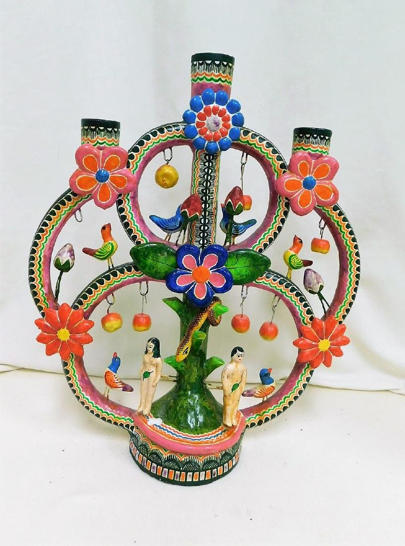MEXICAN FOLK ART POTTERY GARDEN OF LIFE CANDELABRA