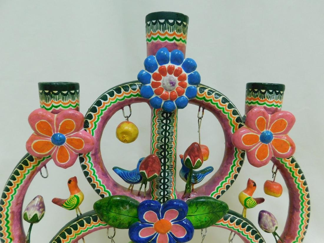 MEXICAN FOLK ART POTTERY GARDEN OF LIFE CANDELABRA - 2