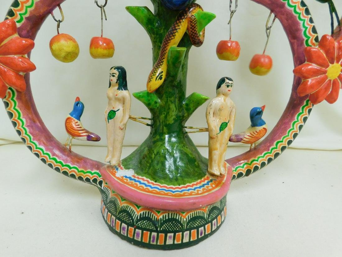 MEXICAN FOLK ART POTTERY GARDEN OF LIFE CANDELABRA - 3