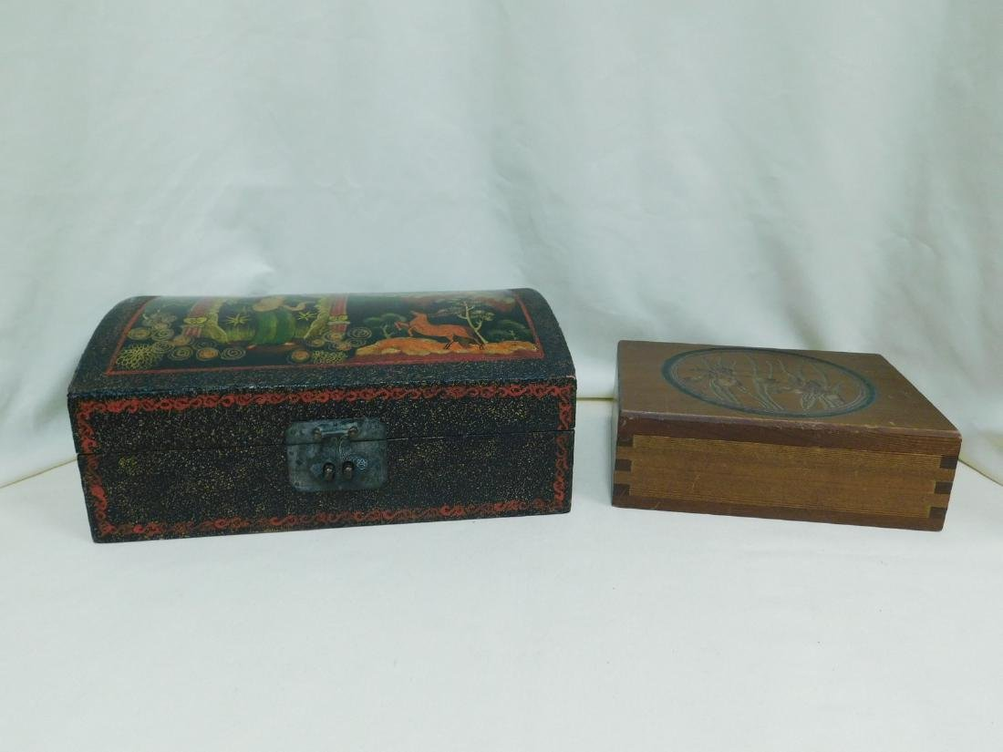 2 WOODEN STORAGE BOXES