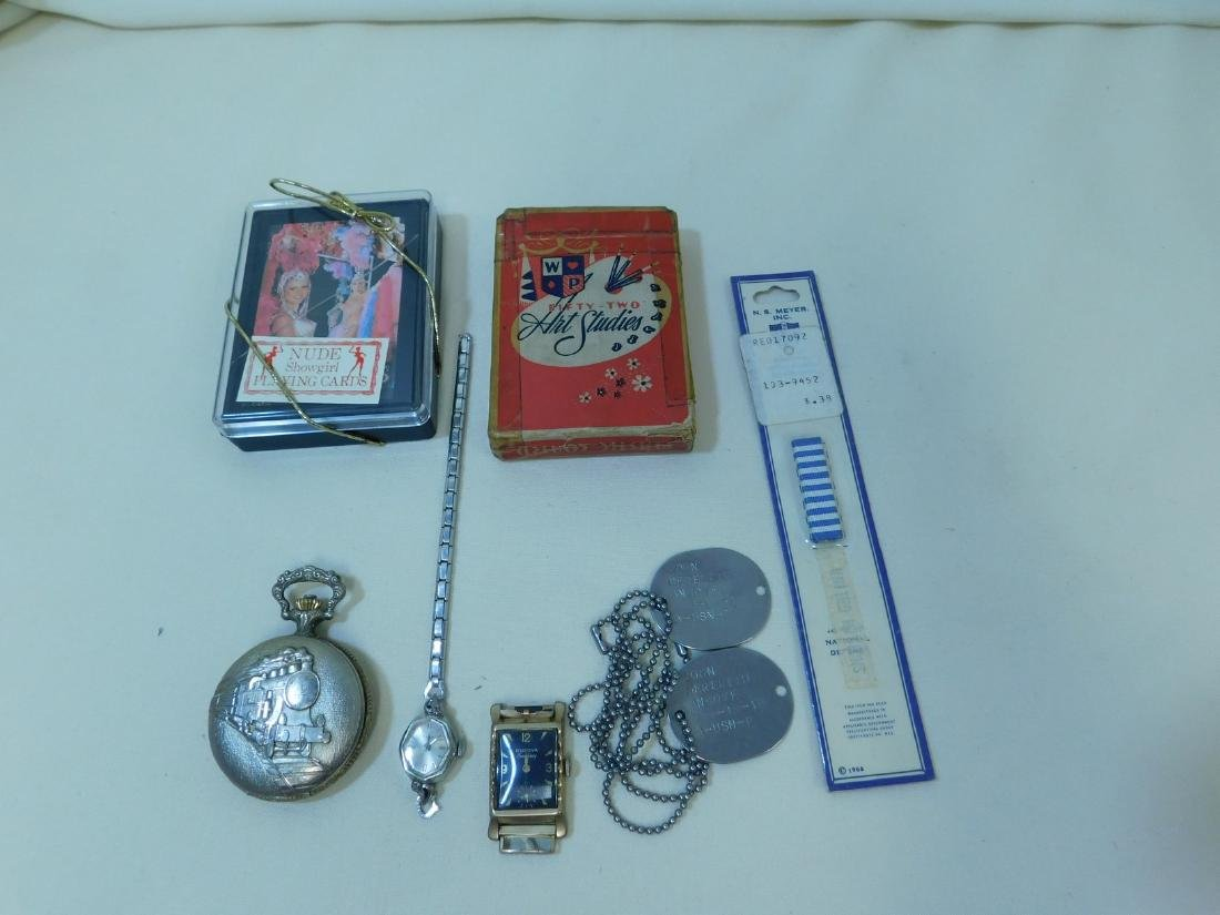 VINTAGE PLAYING CARDS - DOG TAGS - POCKET WATCH &