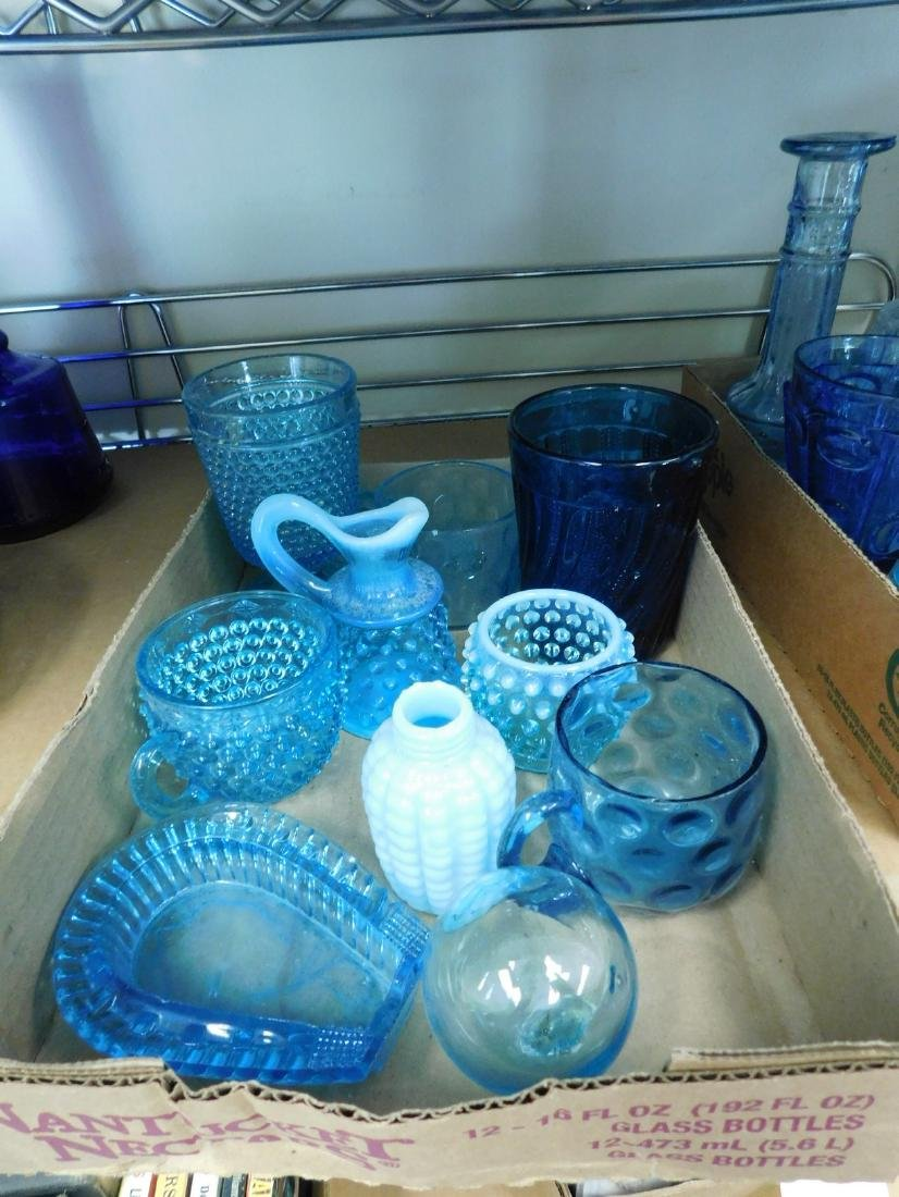 VARIETY OF VINTAGE BLUE GLASS - 3