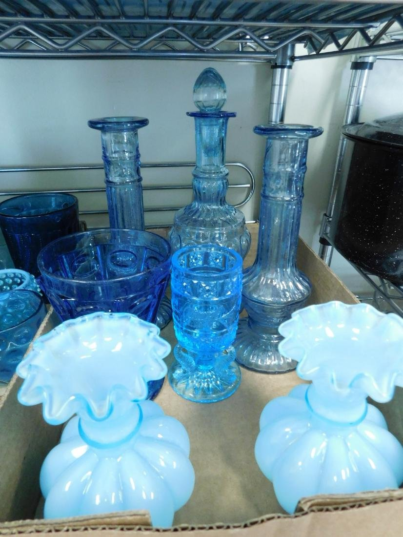 VARIETY OF VINTAGE BLUE GLASS - 4