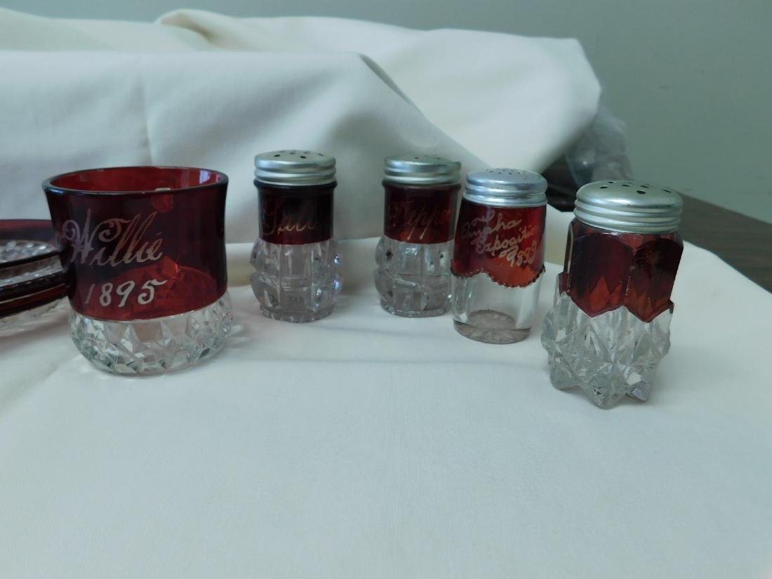 VINTAGE & ANTIQUE RUBY RED SOUVENIR GLASSES & MORE - 3