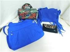 BLUE SUEDE FRINGE PURSE - TRAVELON NYLON BAG - COS