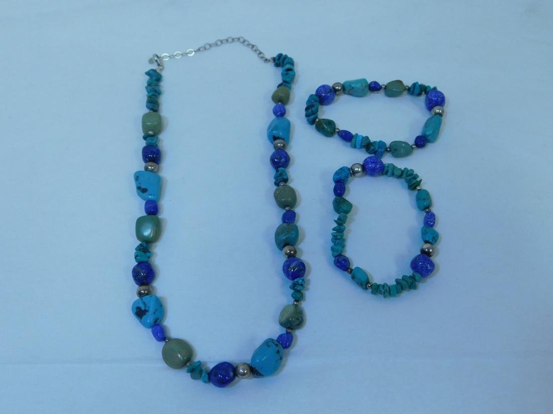 TURQUOISE NECKLACE WITH 2 MATCHING BRACELETS