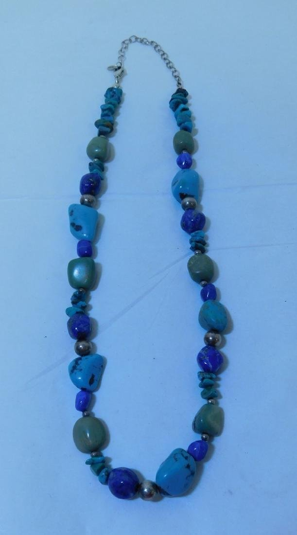 TURQUOISE NECKLACE WITH 2 MATCHING BRACELETS - 2
